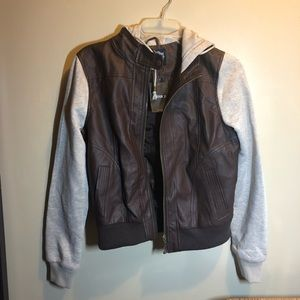 BNWT f21 brown leather jacket with sweater sleeves